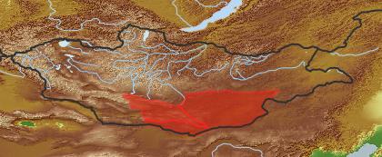 taxon distribution for Brachanthemum gobicum acc. to Geobotanical Regions of Mongolia by Grubov (1955)
