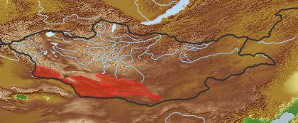 taxon distribution for Galitzkya macrocarpa acc. to Geobotanical Regions of Mongolia by Grubov (1955)
