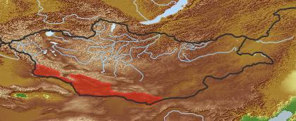 taxon distribution for Karelinia caspia acc. to Geobotanical Regions of Mongolia by Grubov (1955)